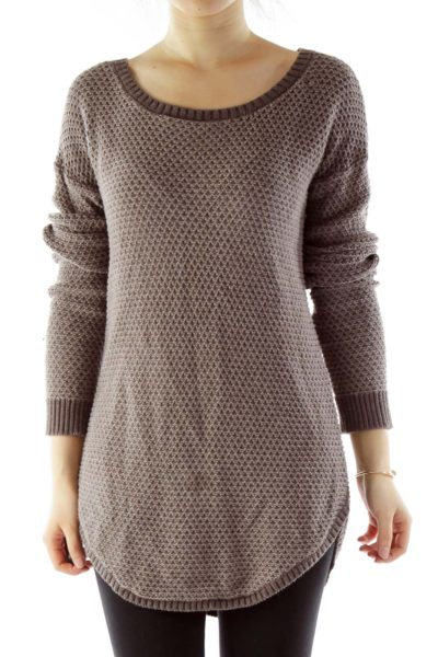 Brown Crocheted Knit Top