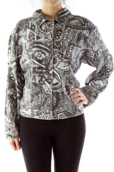 Black Beige Printed Denim Jacket