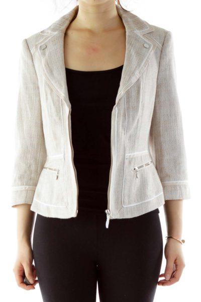 Cream Tweed Zippered Jacket