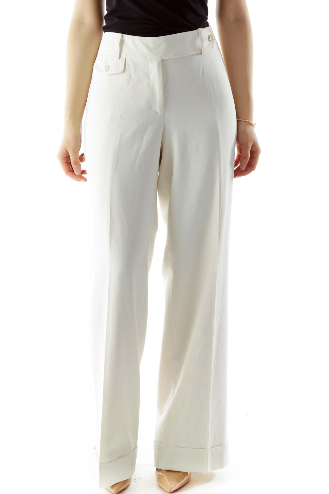 Beige Wide-Leg Pants