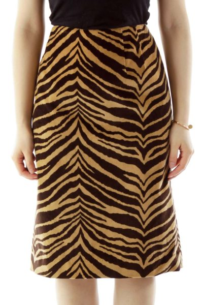 Brown Zebra Print Pencil Skirt