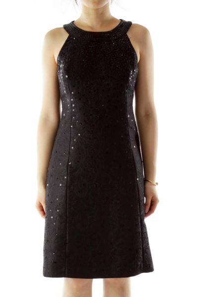 Black Sequined Floral Halter Dress