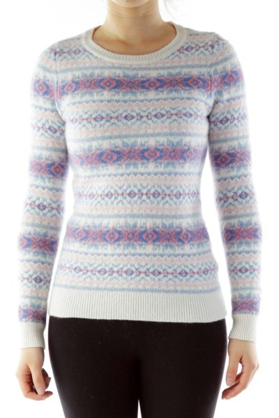 White Blue Red Geometric Print Wool Sweater