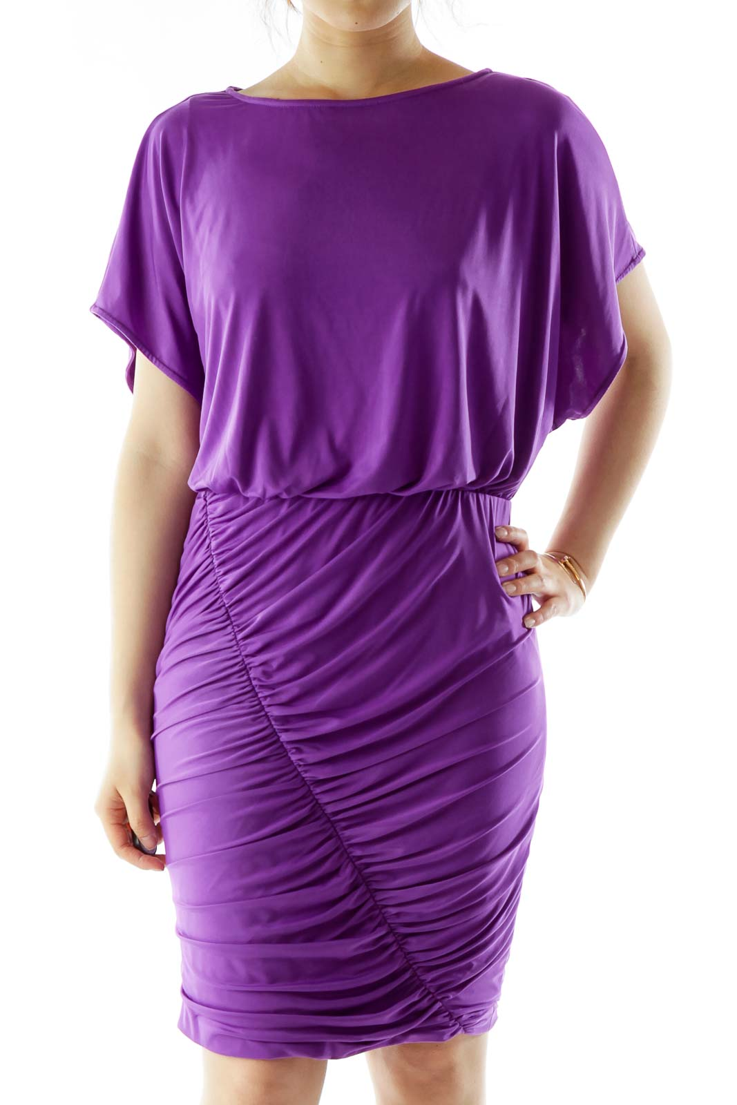 Purple Scrunched Cocktail Dress