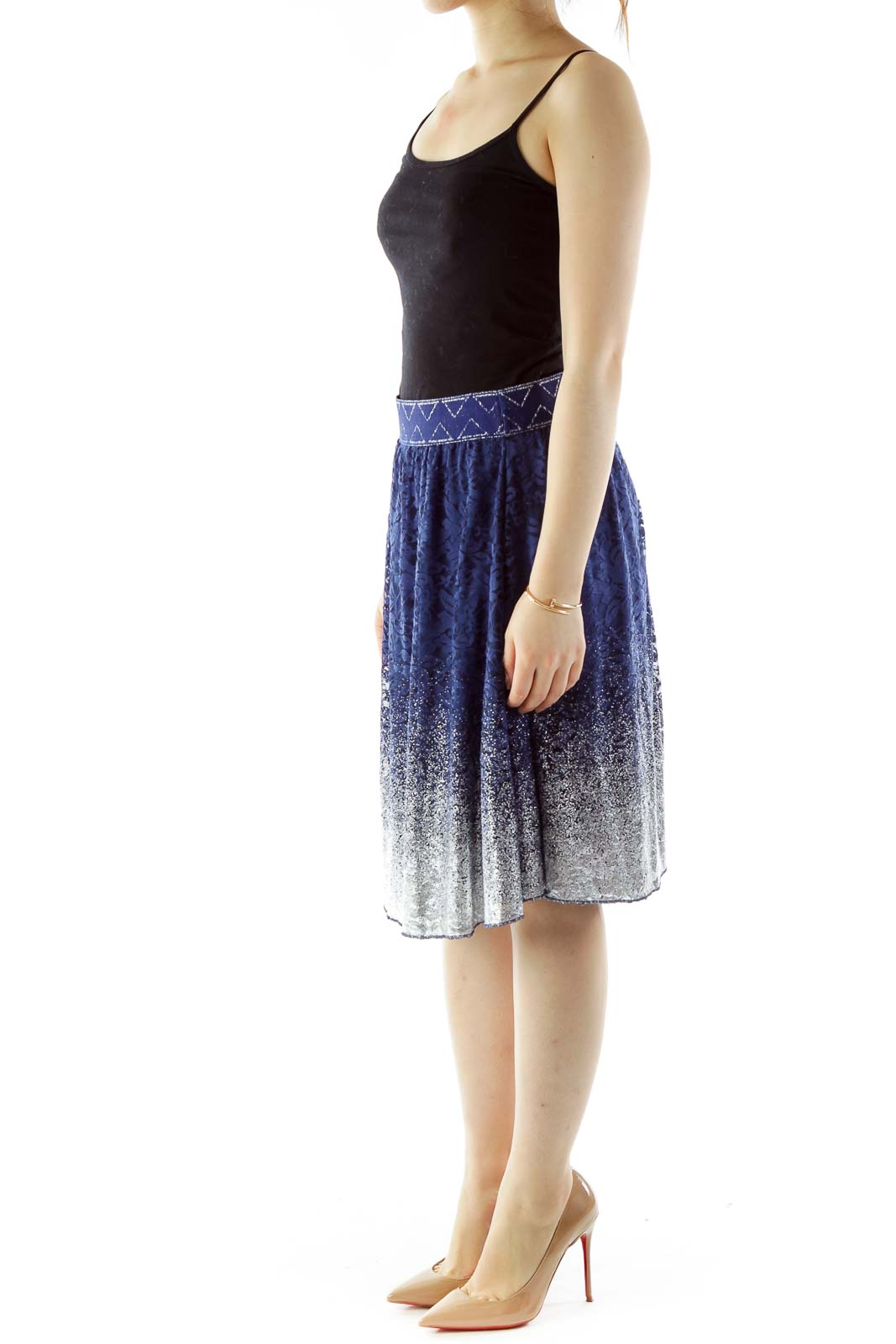 Blue Silver Sparkle Flared Skirt