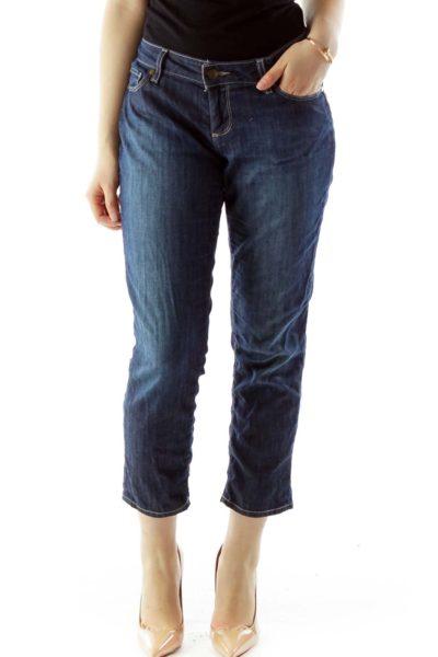 Blue Denim Skinny Cropped Jeans