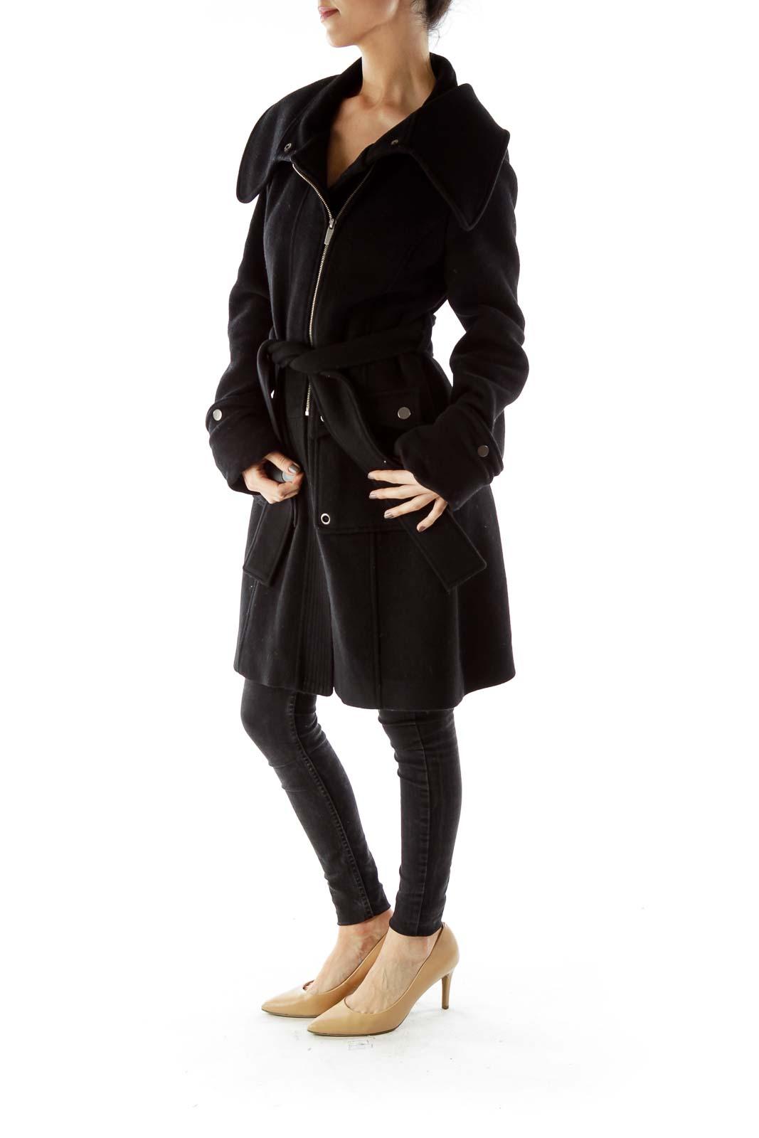 Black Belted Pocketed Coat