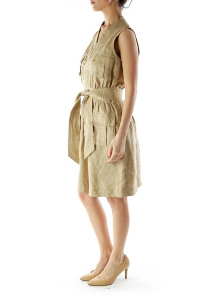 Beige Metallic Linen Day Dress With Sash