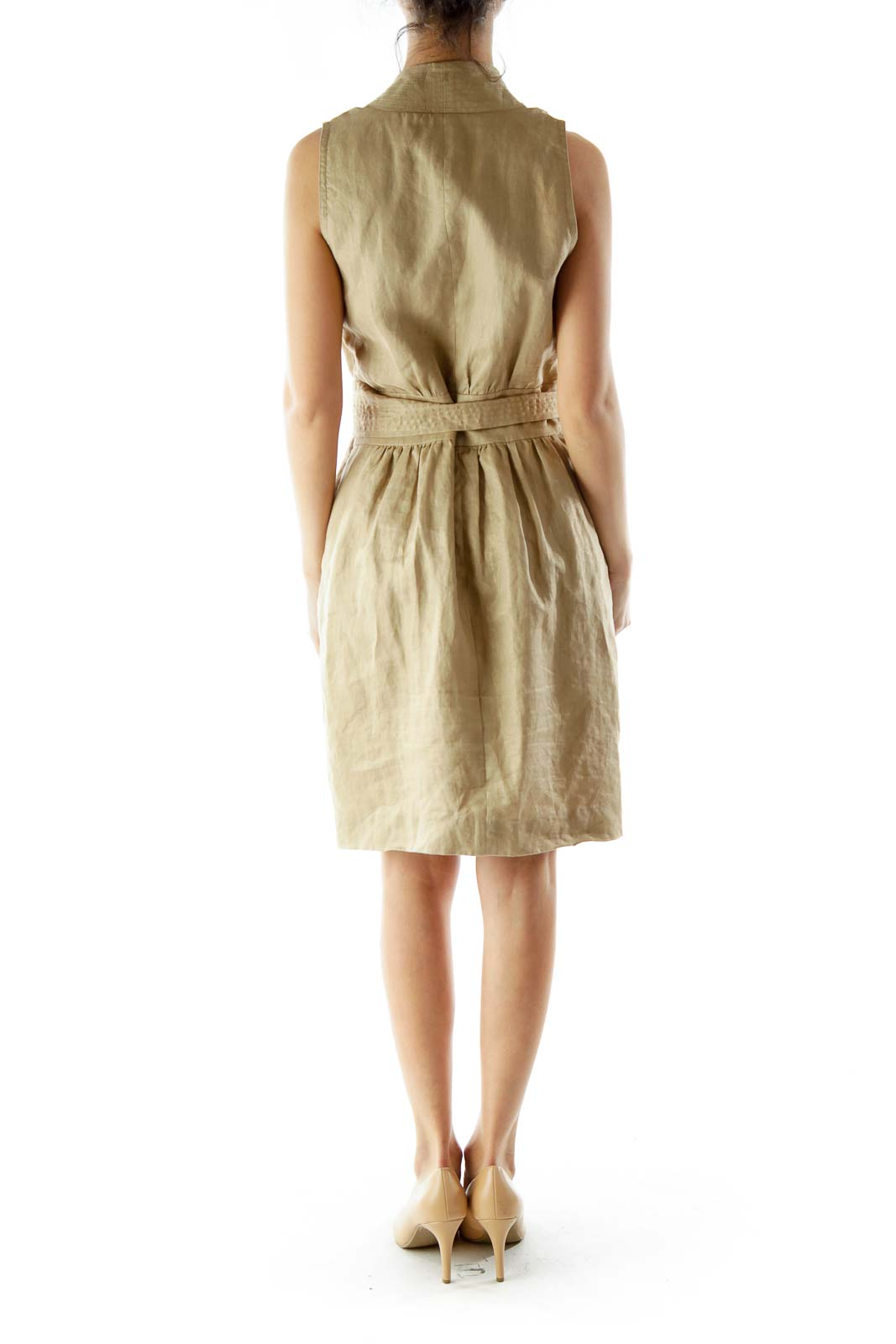 Beige Metallic Linen Day Dress With Sash