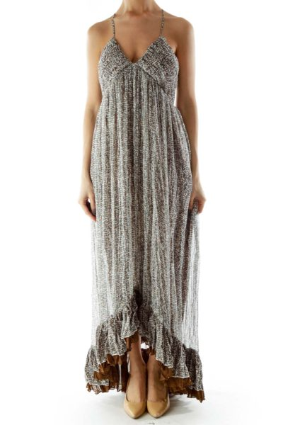 White Brown Green Ruffled Layered Maxi Dress with Adjustable Strap
