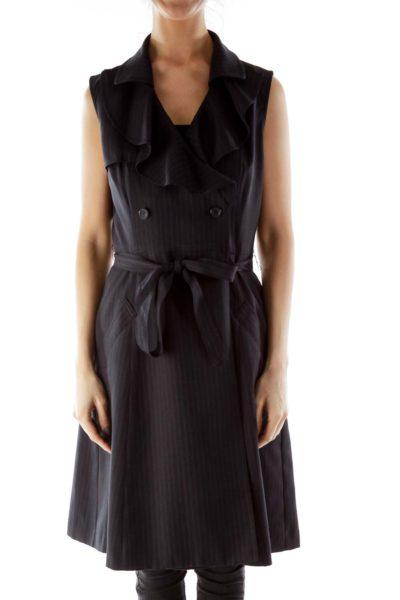 Black Ruffled Pinstripe Double-Breasted Blazer Dress