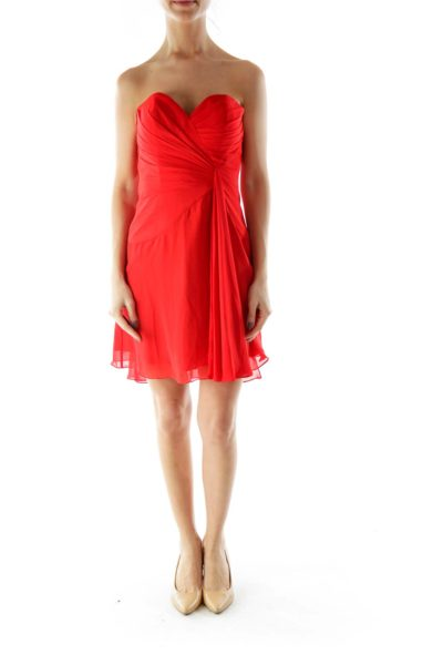 Red Pleated Draped Strapless Cocktail Dress