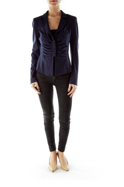 Navy Buttoned Textured Fitted Jacket With Shoulder Pads