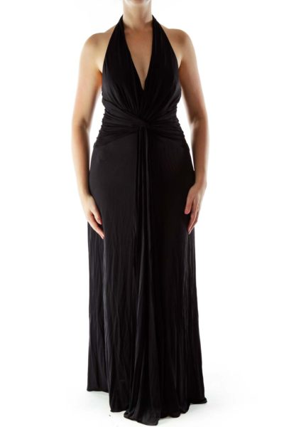 Black Draped Halter Evening Dress