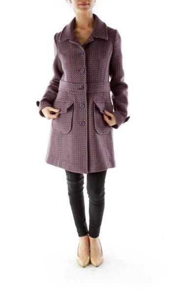Purple Tweed Woven Coat