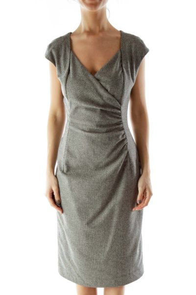 Black White Fitted Wool Dress