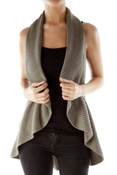 Taupe Flared Knit Vest