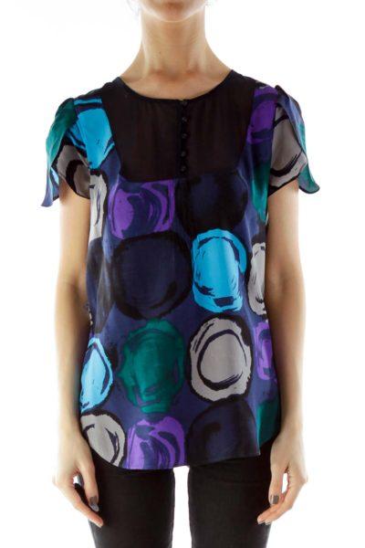Purple Navy Circle Print Blouse