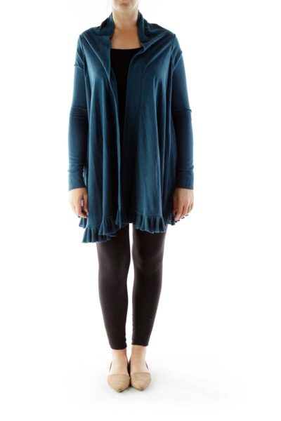 Blue Ruffled Silk Cardigan