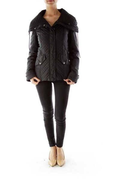 Black Buttoned Pocketed Padded Jacket