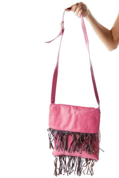 Pink Crossbody Bag with Tassel Details