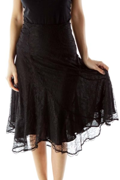 Black Lace Flared Skirt