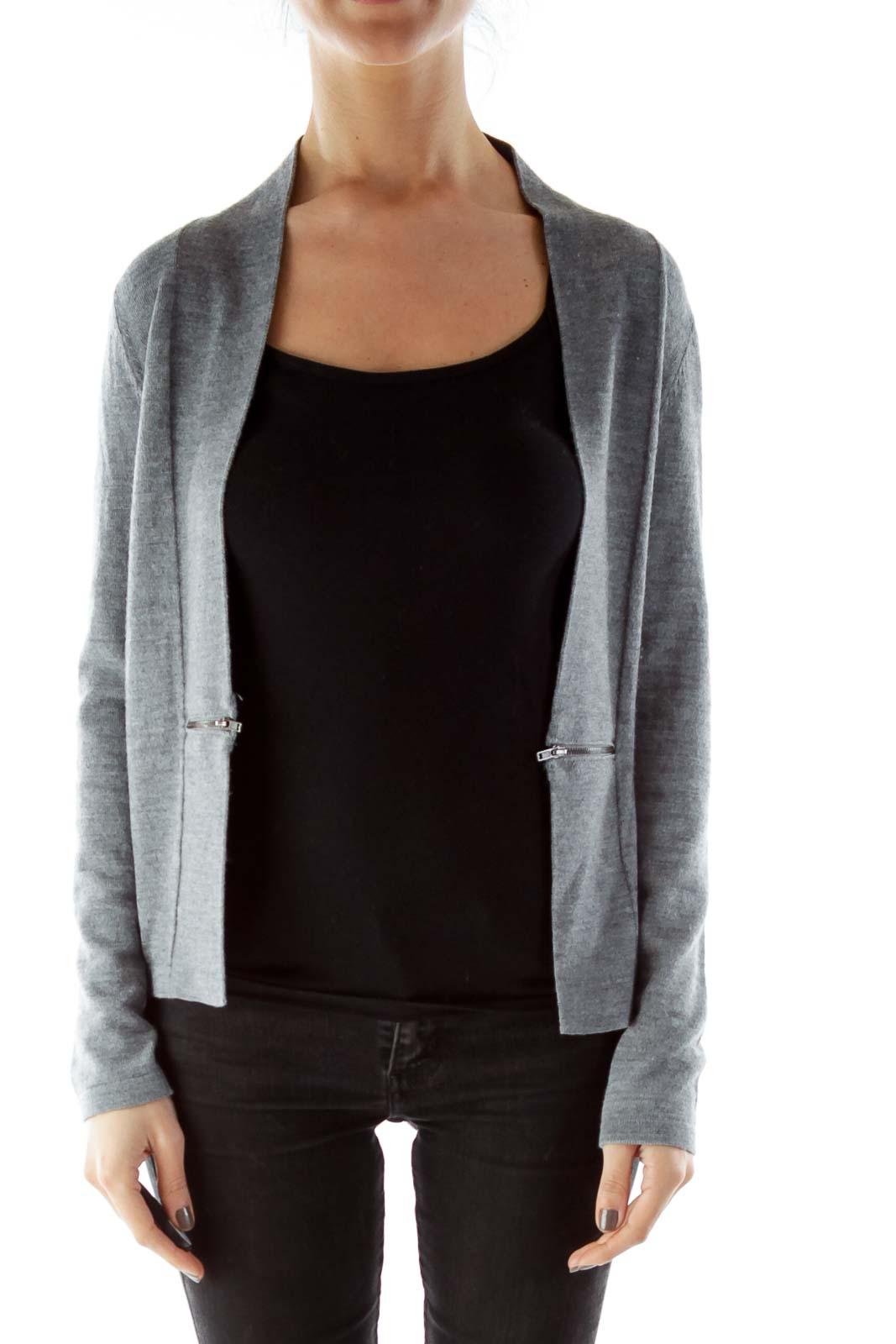 Gray Zippered Textured Open Cardigan