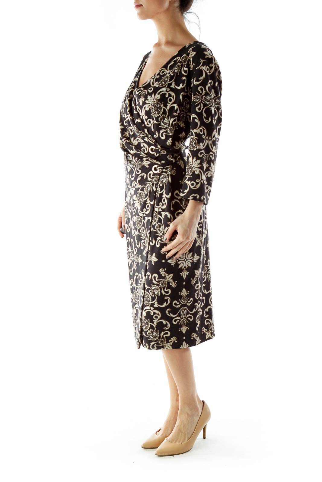 Black Cream V-neck Floral Print Wrap Dress