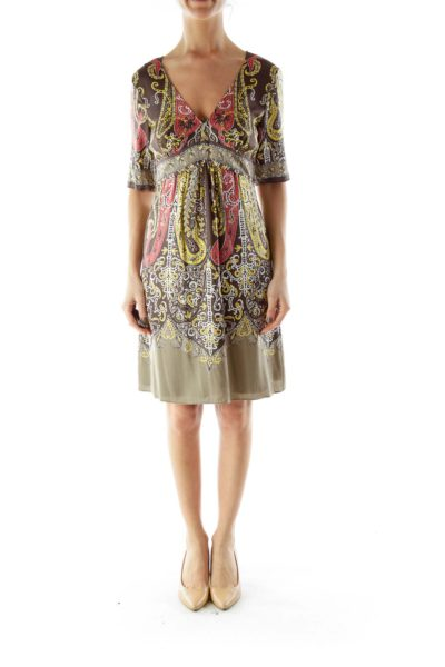 Multicolor Floral Print Mid-Sleeve Day Dress