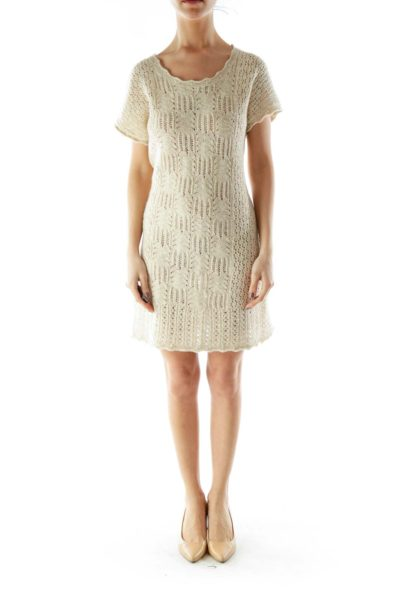 Beige Crocheted Day Dress
