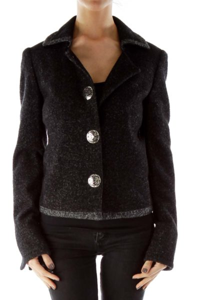 Black Silver Buttoned Mottled Tweed Jacket