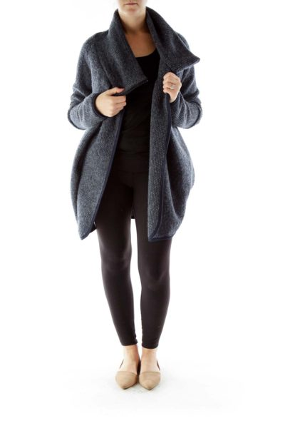 Gray Mottled Cowl Neck Open Coat