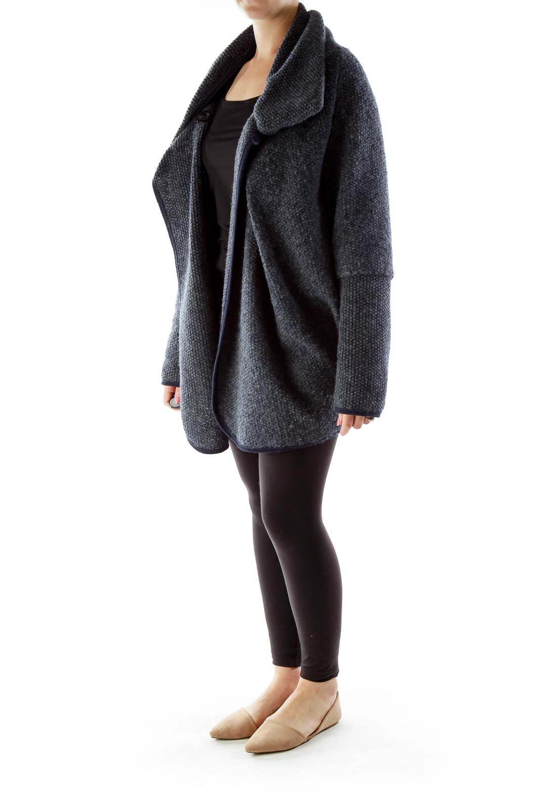 Gray Mottled Cowl Neck Open Coat