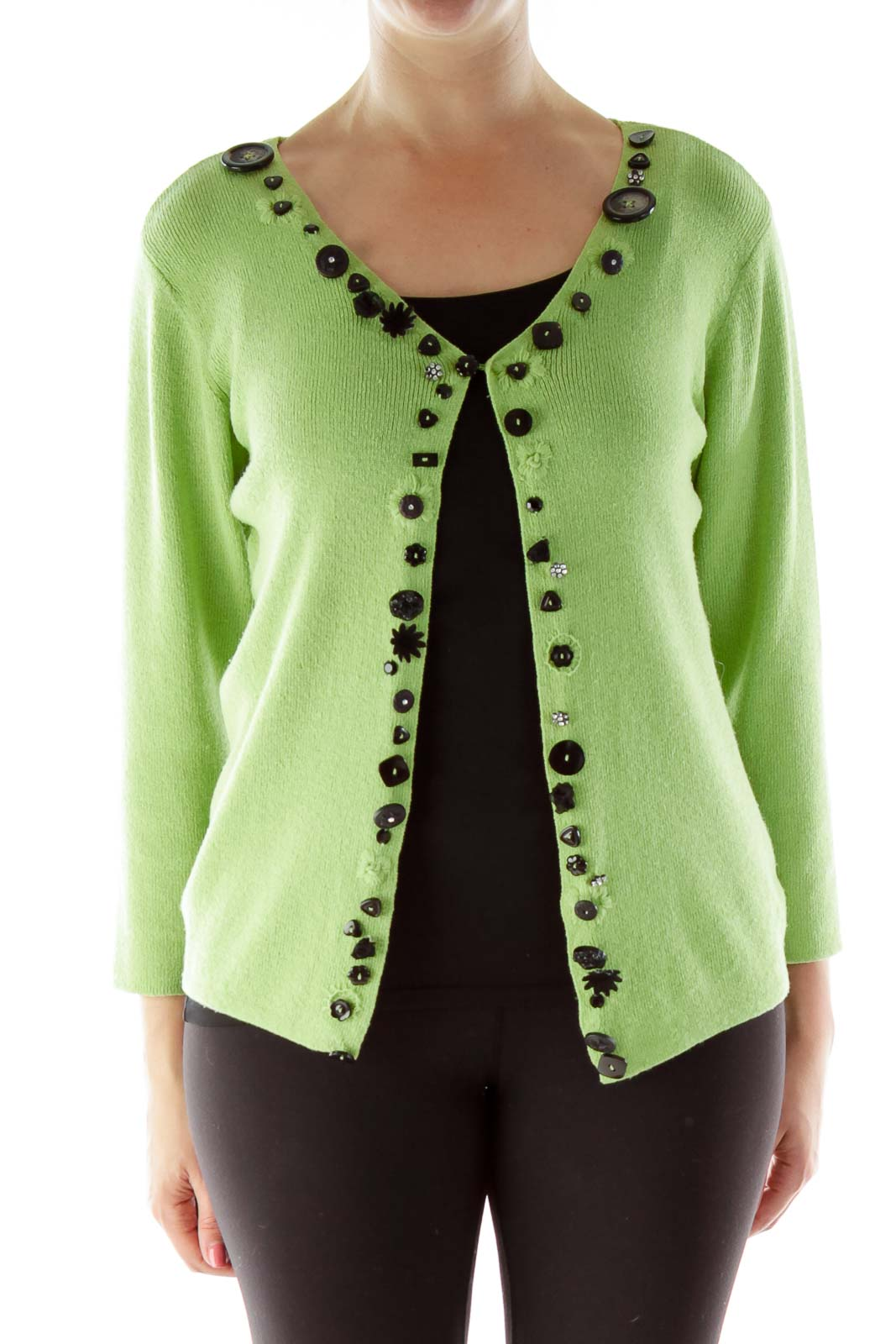 Green Beaded Knit Cardigan