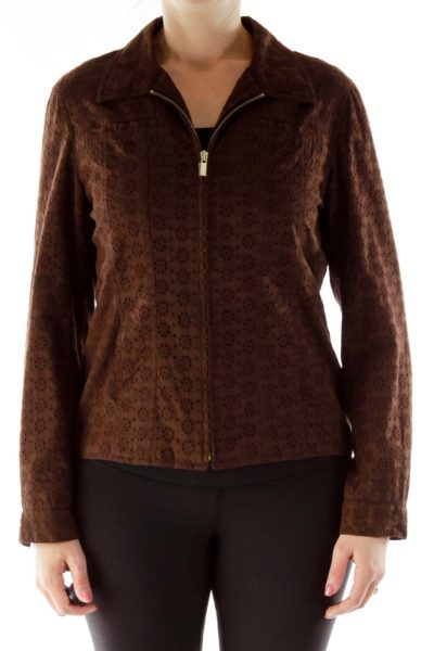 Brown Crocheted Zippered Jacket