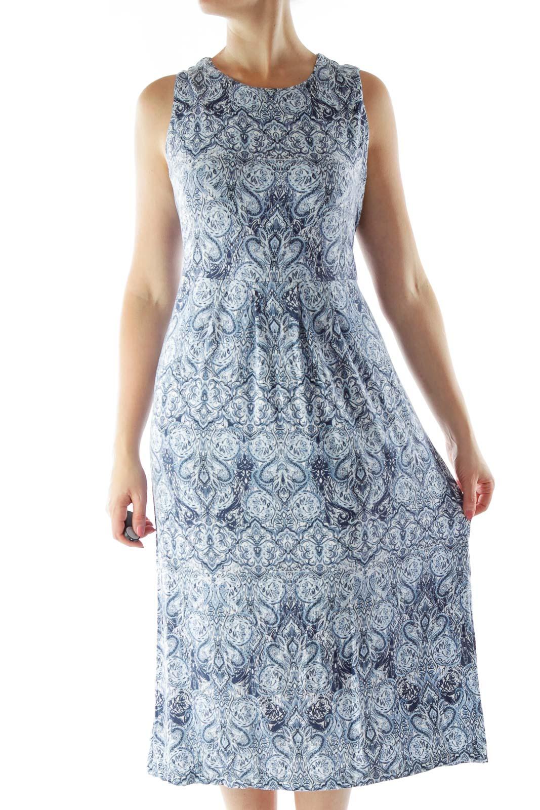 Blue White Print Jersey Dress
