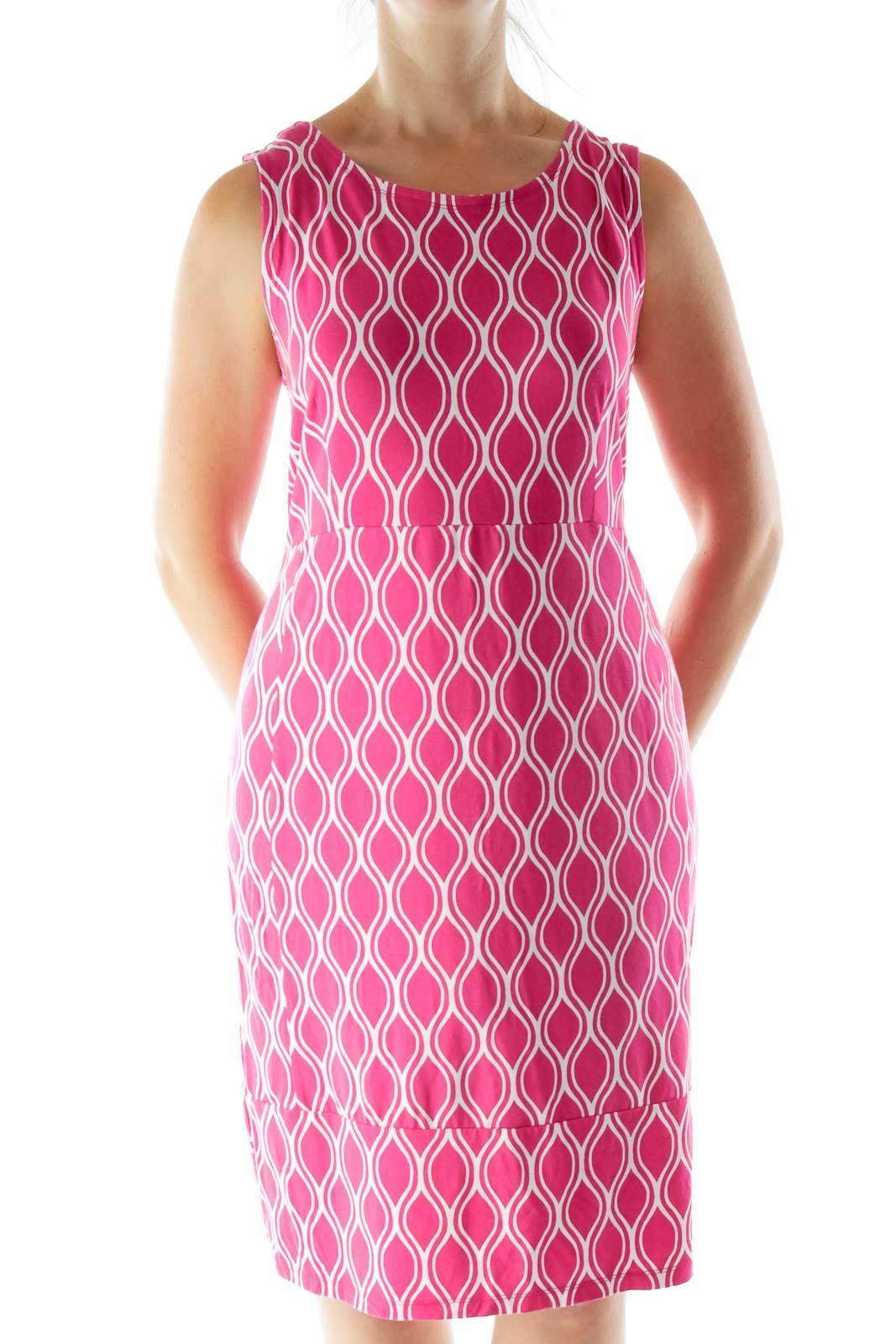 Hot Pink Print Jersey Dress