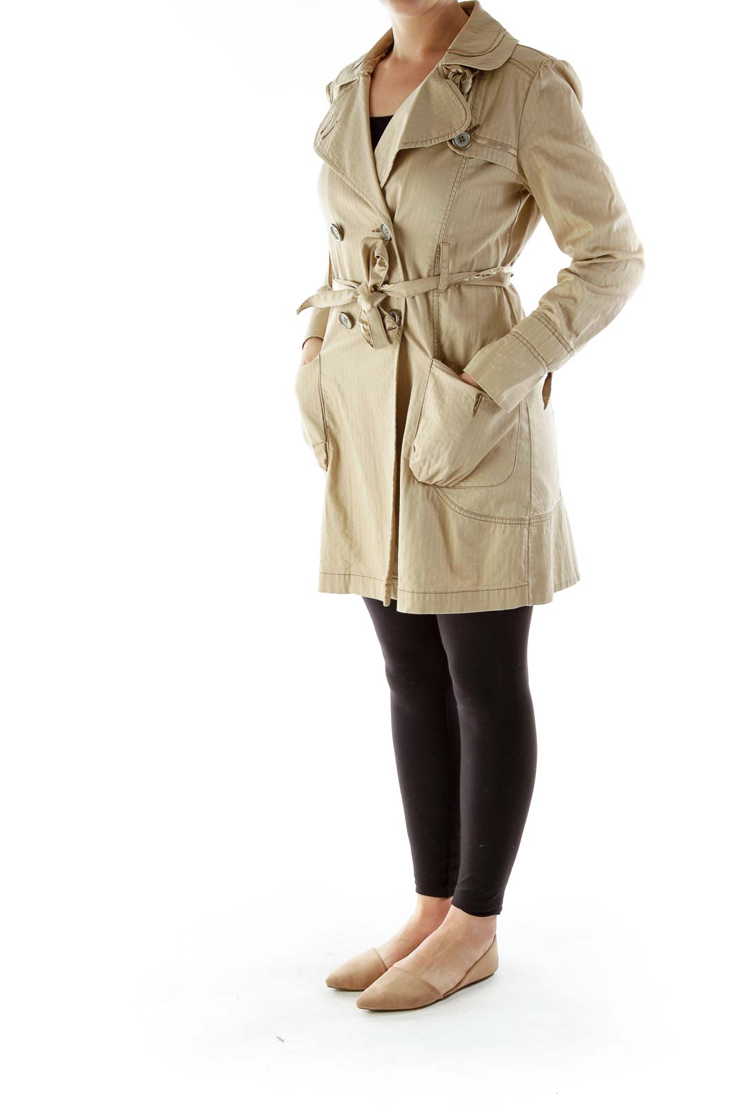 Beige Pinstriped Double-Breasted Belted Coat