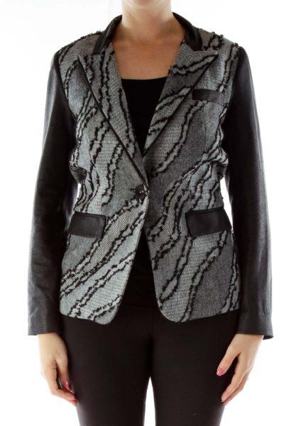 Black Gray Woven Detail Tweed Blazer
