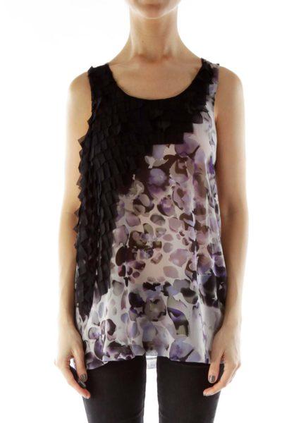 Black Purple Ruffle Detail Sleeveless Blouse