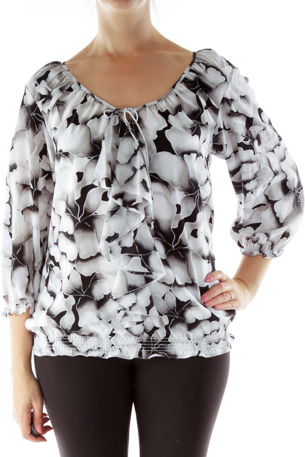 Black White Floral Blouse