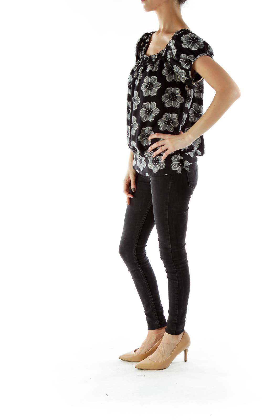 Black White Off-Shoulder Blouse