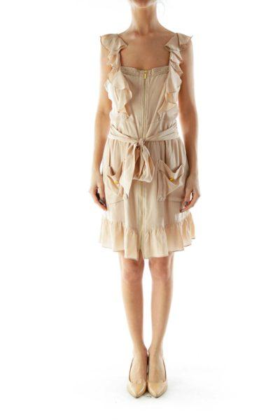 Beige Ruffled Zippered Dress