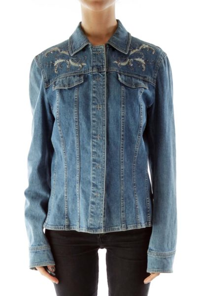 Blue Denim Embroidered Jacket