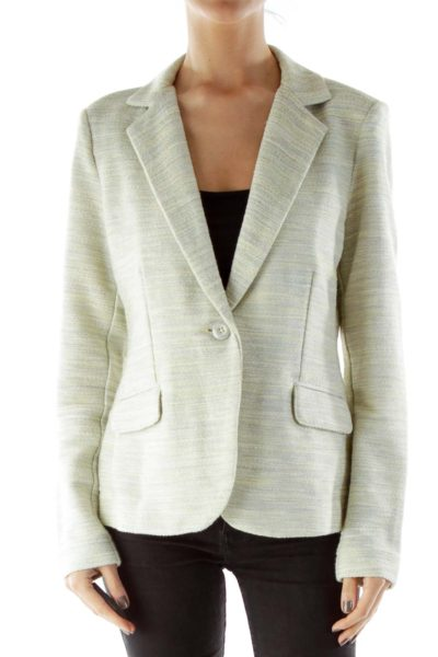 Beige Green Tweed Blazer