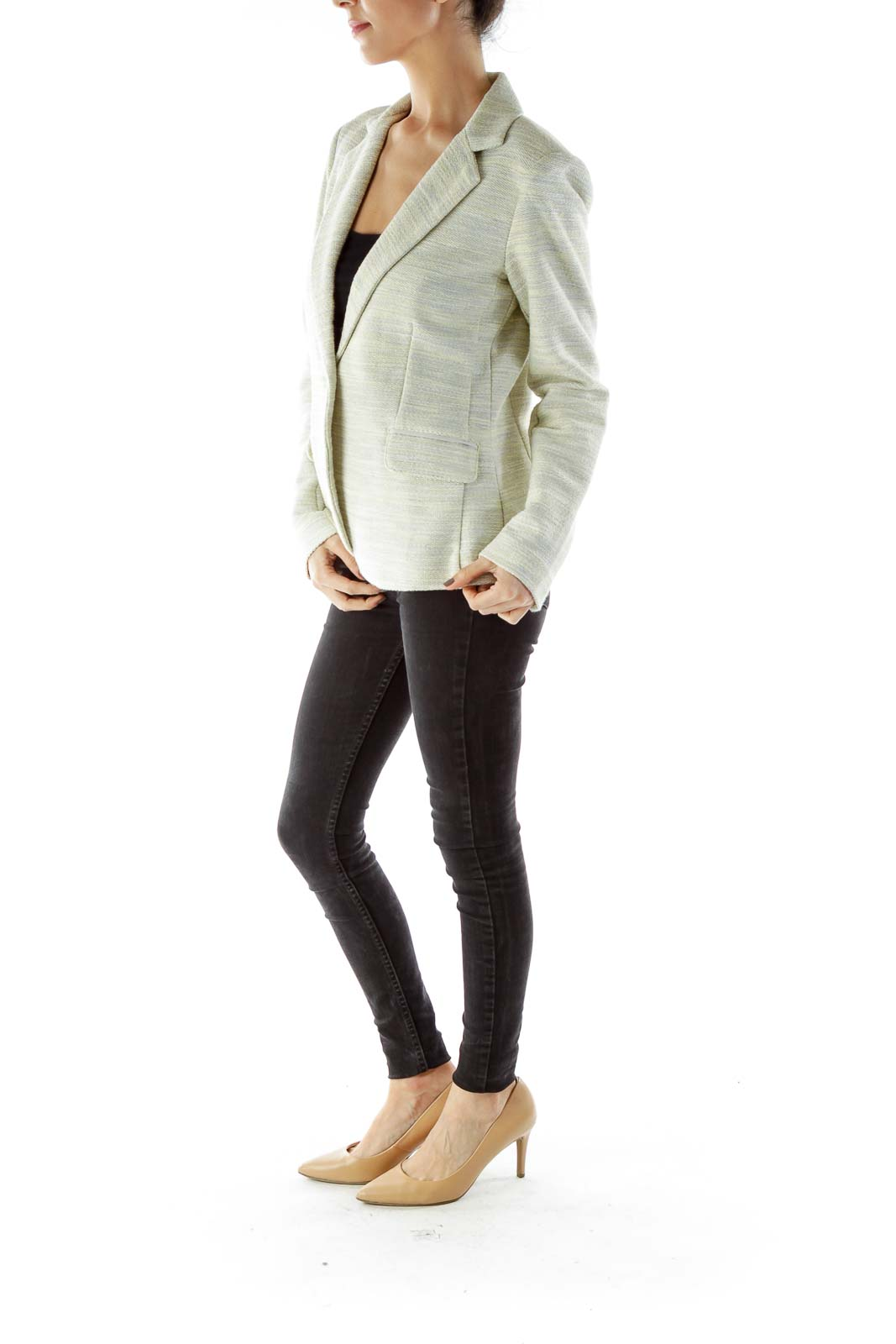 Beige Green Tweed Blazer