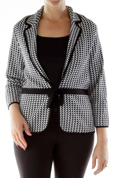 Black White Belted Knit Jacket