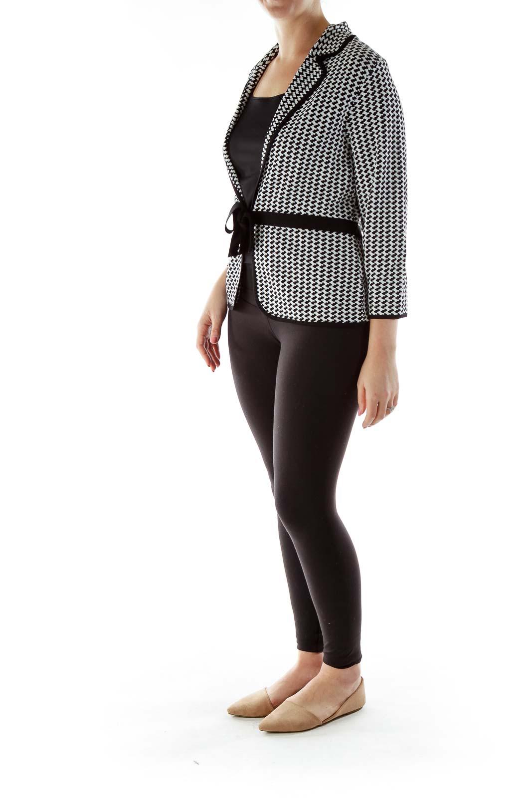 Black White Belted Knit Jacket
