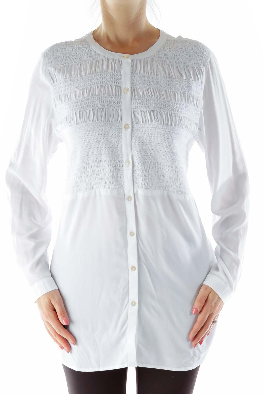 White Scrunch Detail Button Down Blouse
