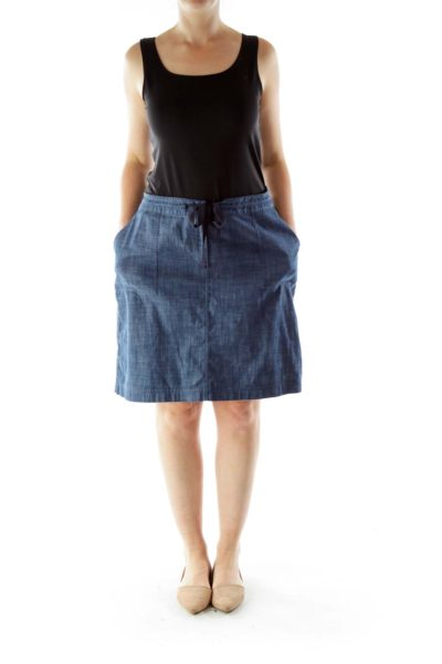 Blue Denim Drawstring Skirt